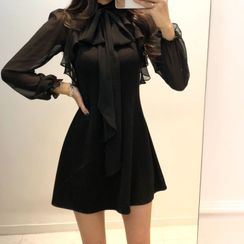 HW Studio - Long-Sleeve Ribbon Bow A-Line Dress