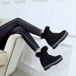 天姿 - 毛毛邊厚底短靴