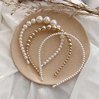 Ticoo - Faux Pearl / Alloy Bead Headband