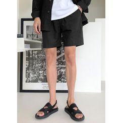 JOGUNSHOP - Drawstring-Waist Linen Blend Shorts