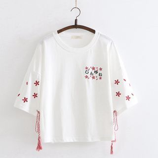 Cat Planet - Flower Embroidered Short-Sleeve T-Shirt
