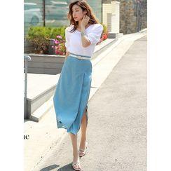 Styleonme - Pleated Deep-Slit Long Skirt