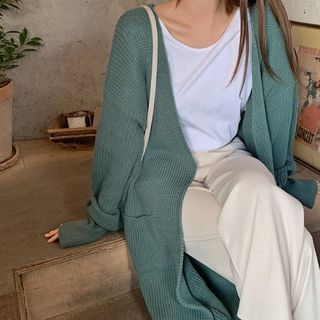 HOTPING - Open-Front Long Knit Cardigan