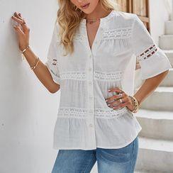 Simplee - 中袖刺绣衬衫