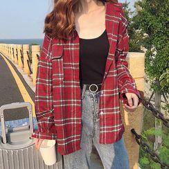 KAKAGA - Long-Sleeve Plaid Shirt