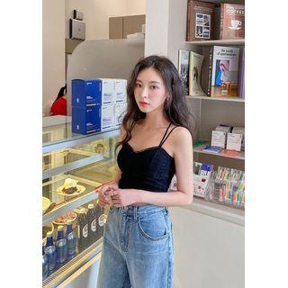 chuu - Sweetheart Lace Crop Bustier Top