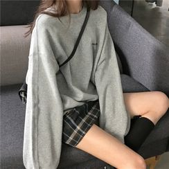 Iduna - Long-Sleeve Letter Print Sweatshirt