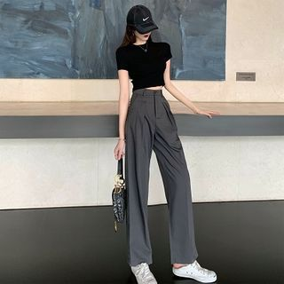 Attune - 纯色短款T裇/高腰宽腿裤