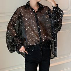 VEAZ - Long-Sleeve Sequin Loose-Fit Sheer Shirt