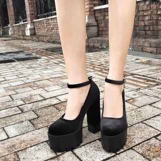 安若 - 仿麂皮踝带厚底粗跟鞋