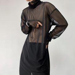 Bjorn - 立领长袖薄纱网纱上衣