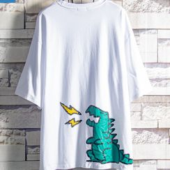 Soinku - Elbow-Sleeve Dinosaur Print T-Shirt