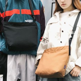 SUNMAN - Plain Nylon Messenger Bag