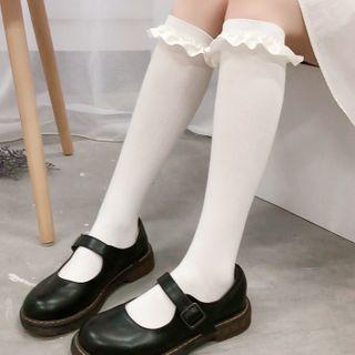 Lucky Nine - Ruffle Trim Knee-High Socks
