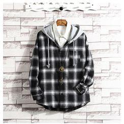 Aozora - Hooded Plaid Shirt Jacket