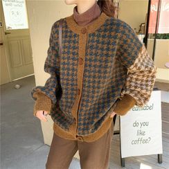 Sienne - Long-Sleeve Buttoned Houndstooth Knit Top