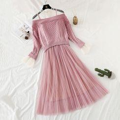 NINETTE - 套装: 假两件毛衣 + 网纱吊带连衣裙