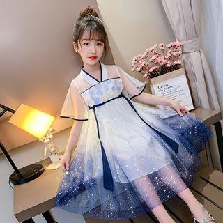 Qin Qin - Kids Elbow-Sleeve Glitter Midi A-Line Mesh Dress