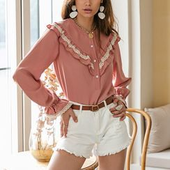 Simplee - Long Sleeve Ruffled Shirt