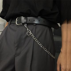 Banash - Faux Leather Belt With Chain