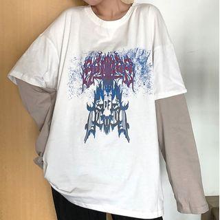 Dreamkura - Mock Two-Piece Printed Long-Sleeve T-Shirt