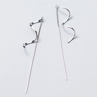 A'ROCH - 925 Sterling Silver Swirl Threader Earrings