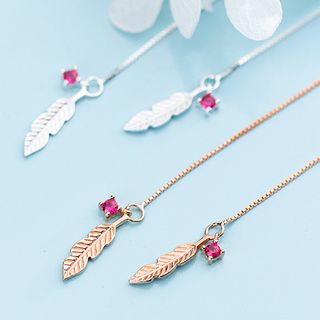 A'ROCH(エーロック) - 925 Sterling Silver Rhinestone Feather Drop Earring