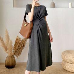 Herbavo - Maternity Shirred Midi A-Line Dress