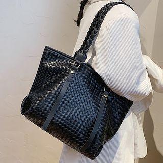 Bezac(ベザック) - Woven Strap Faux Leather Tote Bag