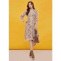 Chlo.D.Manon(クロードマノン) - Set: Button-Trim A-Line Lace Dress + Slip Dress