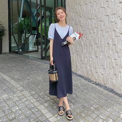 Estacion - 套装: 短袖纯色衬衫 + 吊带连衣中裙