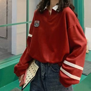 IndiGirl - Long Sleeve Applique Oversized Polo Shirt