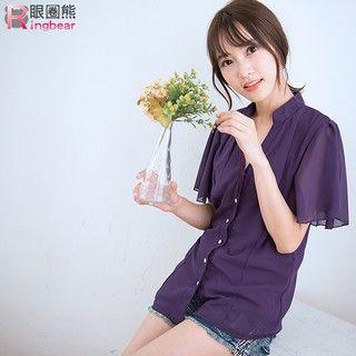 RingBear - Mandarin Collar Short-Sleeve Chiffon Shirt