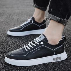 MARTUCCI - Faux Leather Bar Code Print Sneakers