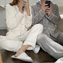 Sadelle(サデッレ) - Couple Matching Pajama Set: Fluffy Shirt + Pants