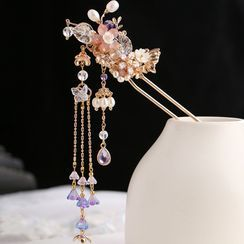Kanzashi - Retro Glass Petal Fringed Hair Stick Add On