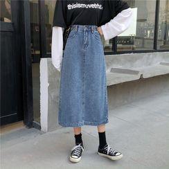 Moon City - Denim A-Line Skirt