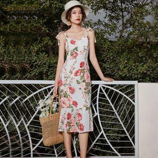 Makori - Tie-Shoulder Floral Print Midi Sundress