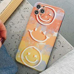 TinyGal - Smiley Print Phone Case - iPhone 12 Pro Max / 12 Pro / 12 / 12 mini / 11 Pro Max / 11 Pro / 11 / SE / XS Max / XS / XR / X / SE 2 / 8 / 8 Plus / 7 / 7 Plus