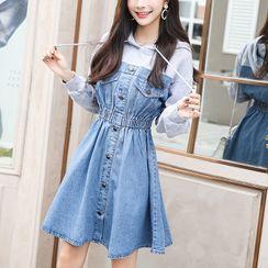 Daynum - Mock Two-Piece Long-Sleeve Hooded Denim Mini A-Line Dress