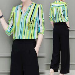 belle epoque - 套装: 条纹衬衫 + 阔脚裤
