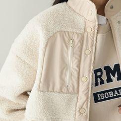 PPGIRL - Stand-Collar Sherpa-Fleece Jacket