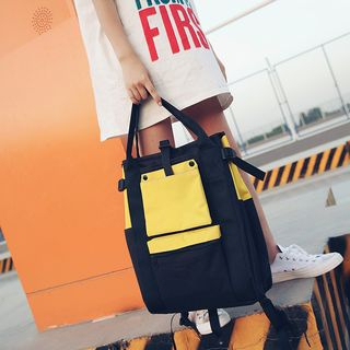 Golden Kelly - Color Panel Canvas Backpack