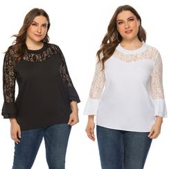Chelsie Chic(チェルシーシック) - Plus Size Long-Sleeve Lace Panel Blouse