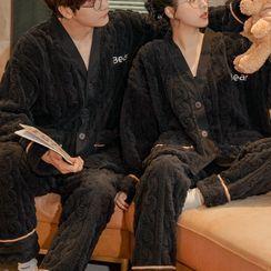 Jeony - Couple Matching Loungewear Set : Long-Sleeve Coral Fleece Top + Pants