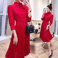 Rosewind - Heart Long-Sleeve Midi Chiffon Dress