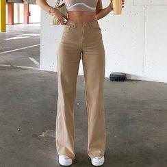 Puffie - Plain High Waist Straight Leg Pants