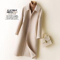 Frigga - Long Button-Up Wool Coat