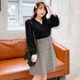 Tripoly - Mock Two-Piece Long-Sleeve A-Line Dress