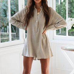 Lovenus  - Long-Sleeve Polo-Neck Playsuit